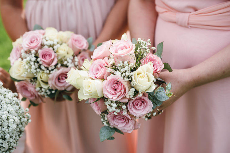 Pink Cream Rose Bouquets Bridesmaid Flowers Gorgeous Home Made Pink Gold Barn Wedding http://www.bethmoseleyphotography.co.uk/