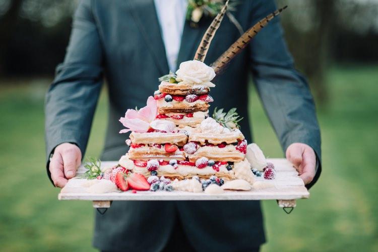 Waffle Wedding Cake Bohemian Styled Vow Renewal https://libertypearlphotography.com/