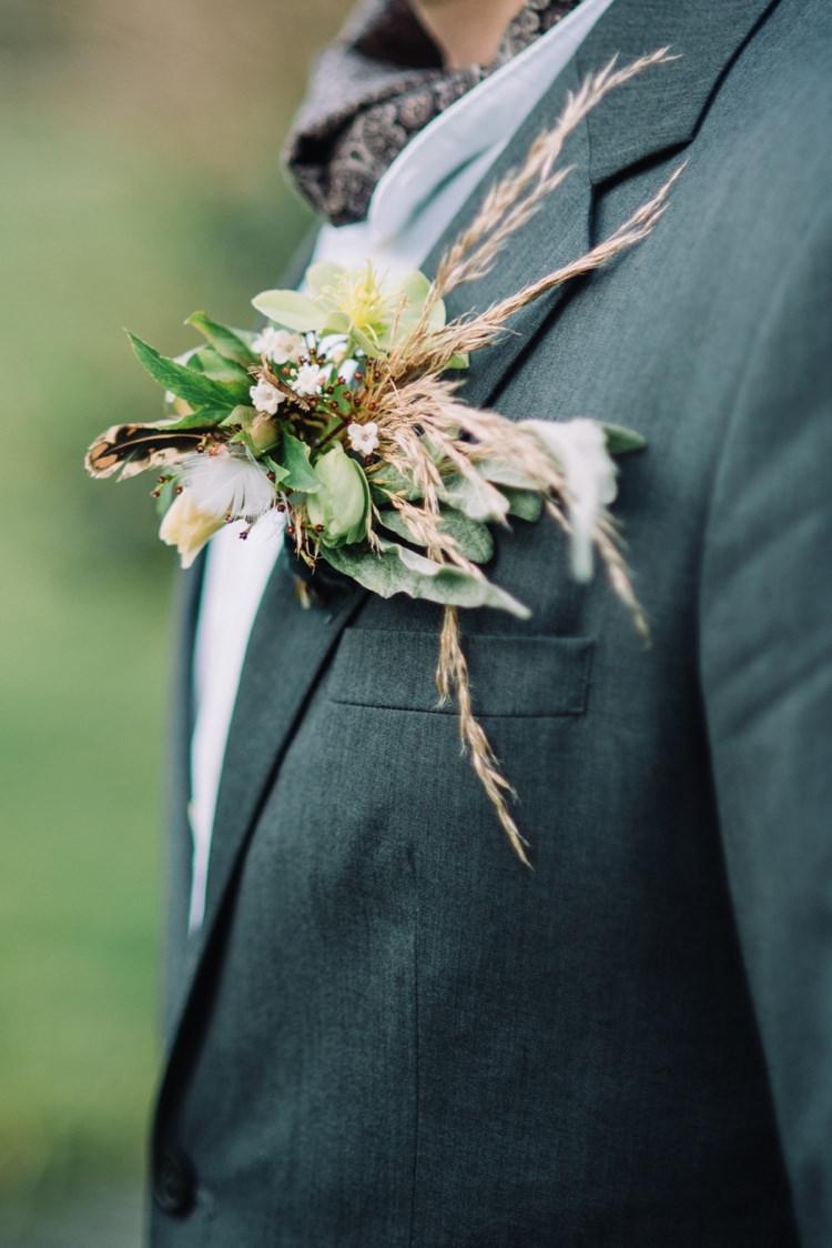 Groom Wedding Buttonhole Grass Wild Bohemian Styled Vow Renewal https://libertypearlphotography.com/