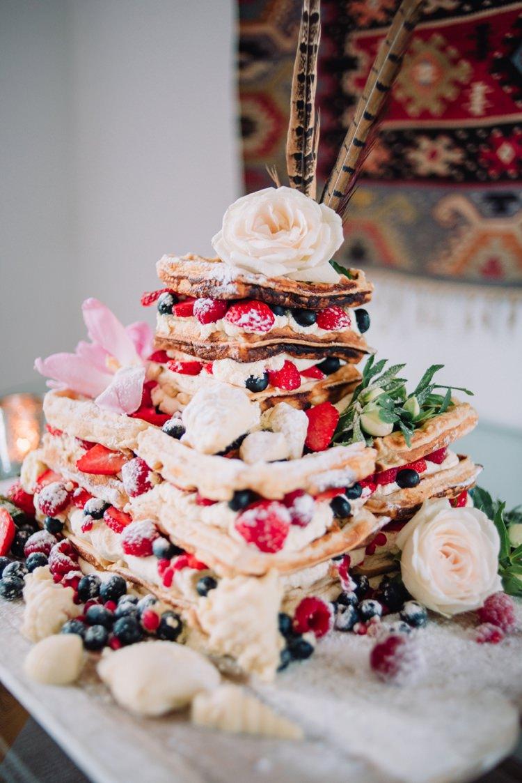 Waffle Wedding Cake Berries Fruit Flowers Bohemian Styled Vow Renewal https://libertypearlphotography.com/
