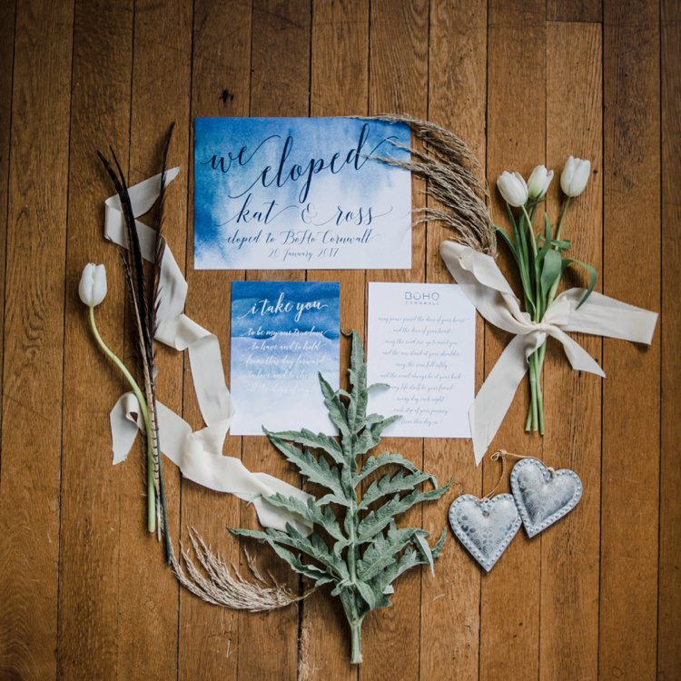Stationery Calligraphy Blue Watercolour Wedding Elopement Bohemian Styled Vow Renewal https://libertypearlphotography.com/