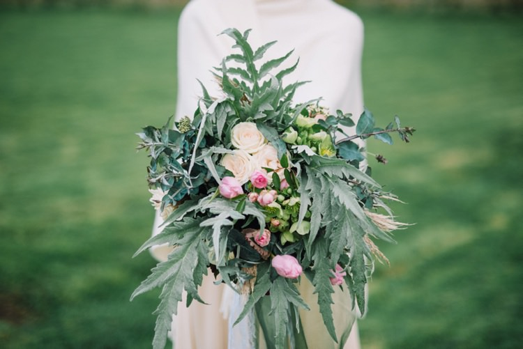 Large Bouquet Flowers Wild Natural Greenery Foliage Wedding Bride Bridal Bohemian Styled Vow Renewal https://libertypearlphotography.com/