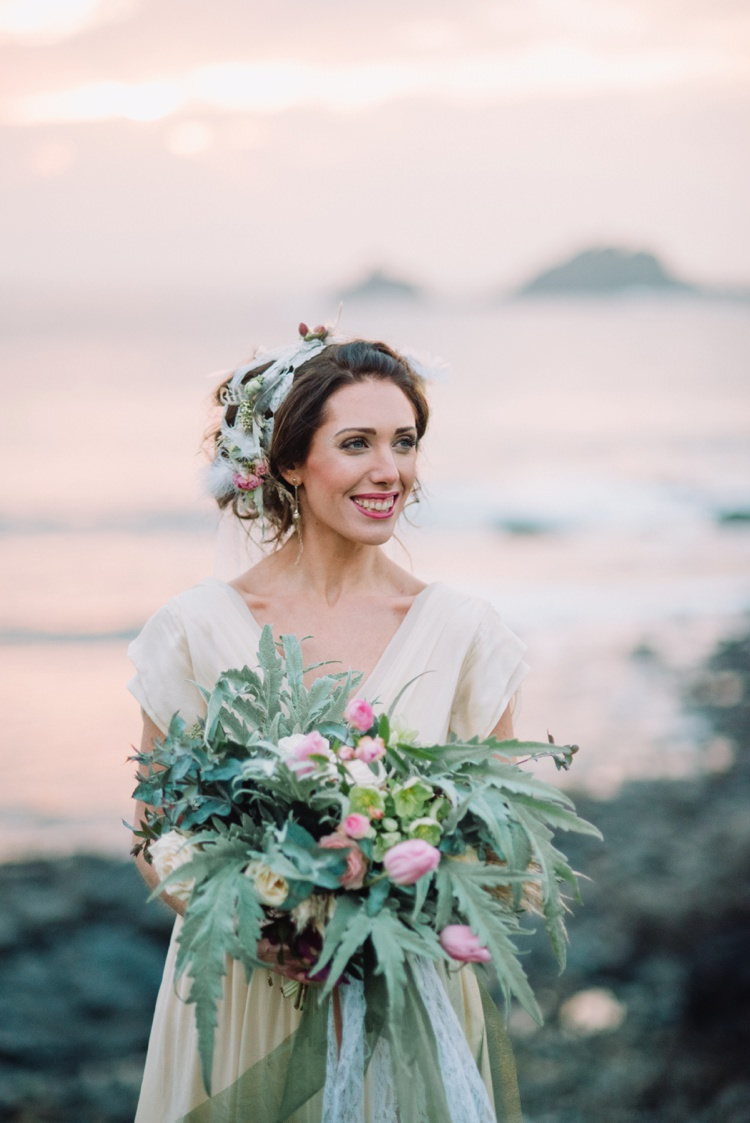 Bride Bridal Hair Make Up Bouquet Flowers Large Wild Bohemian Styled Vow Renewal https://libertypearlphotography.com/