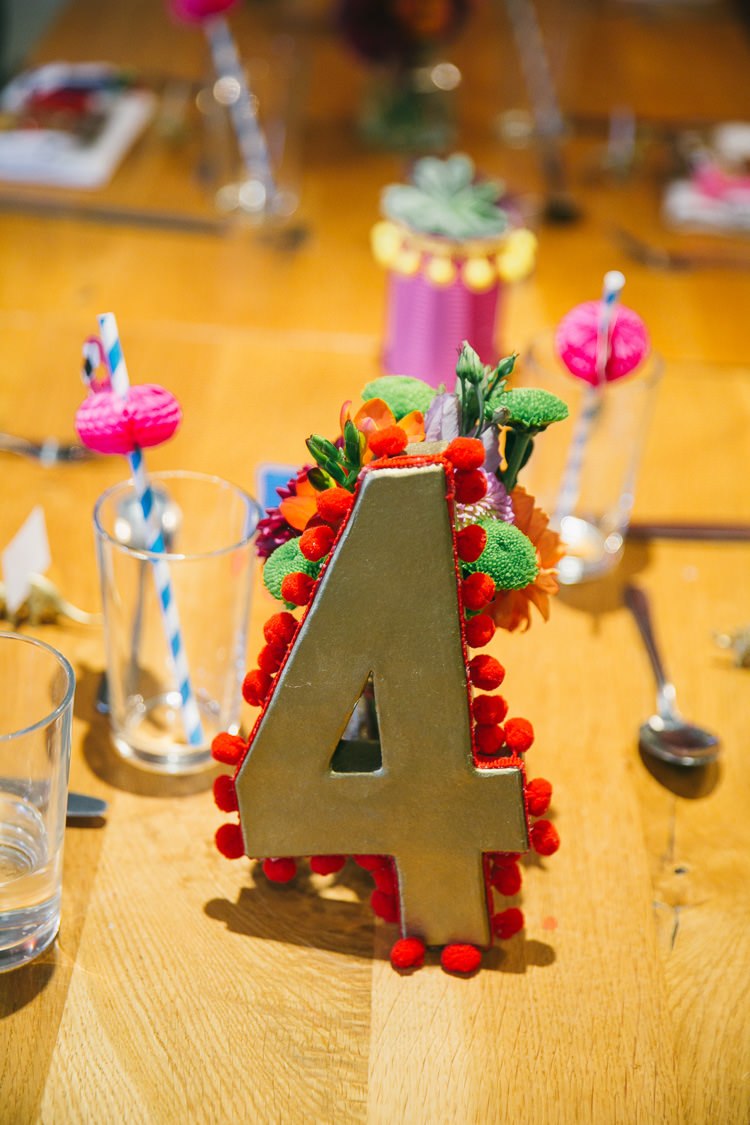 Table Number Pom Pom Mexican Planetarium Space Frida Kahlo Colourful Wedding http://carohutchings.com/