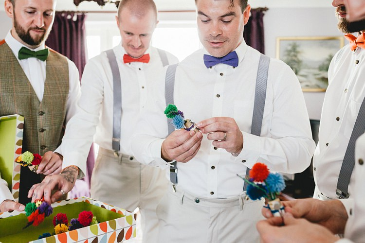 Wool Pom Pom Buttonholes All Things Big Bright Beautiful Multicolour Wedding http://benjaminmathers.co.uk/