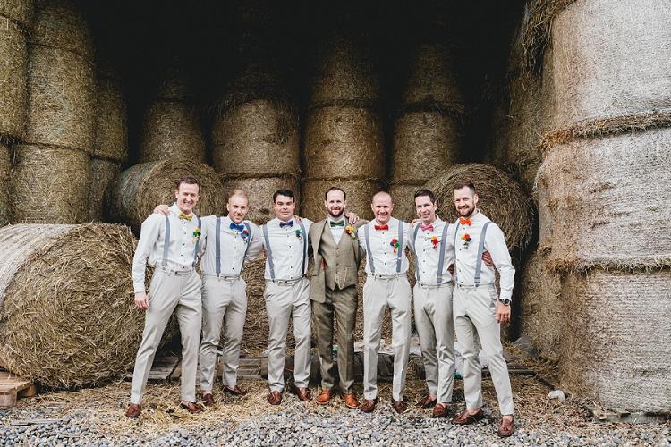 Bow Tie Braces Groomemen All Things Big Bright Beautiful Multicolour Wedding http://benjaminmathers.co.uk/