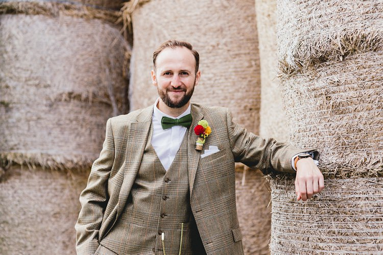 Check Suit Brown Groom Green Bow Tie All Things Big Bright Beautiful Multicolour Wedding http://benjaminmathers.co.uk/