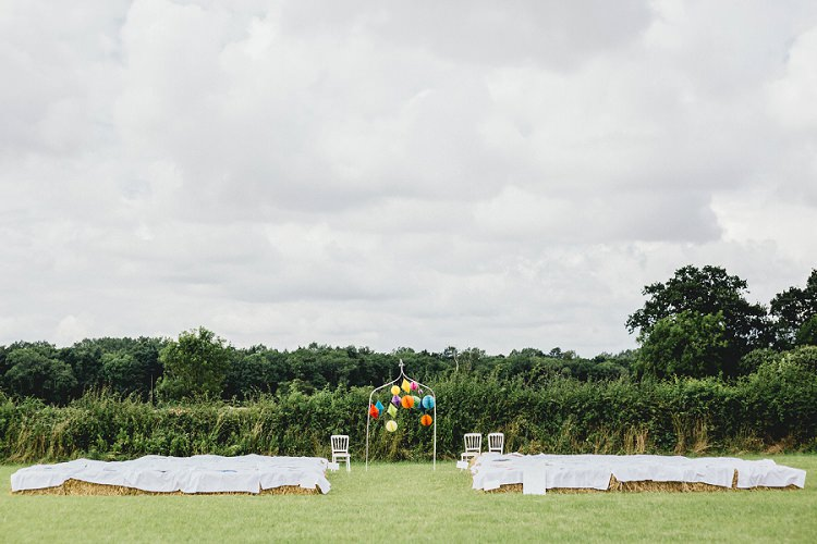 Outdoor Ceremony UK Field Hay Bales All Things Big Bright Beautiful Multicolour Wedding http://benjaminmathers.co.uk/
