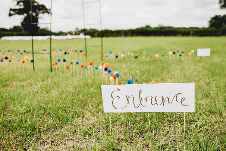 Pom Poms Sticks Decor Welcome Sign All Things Big Bright Beautiful Multicolour Wedding http://benjaminmathers.co.uk/