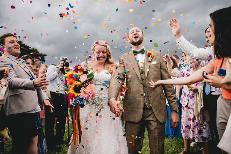 Confetti Throw Bride Groom All Things Big Bright Beautiful Multicolour Wedding http://benjaminmathers.co.uk/