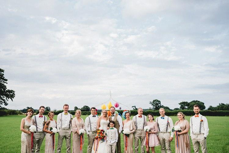 Bridesmaids Groomsmen Bride Groom All Things Big Bright Beautiful Multicolour Wedding http://benjaminmathers.co.uk/