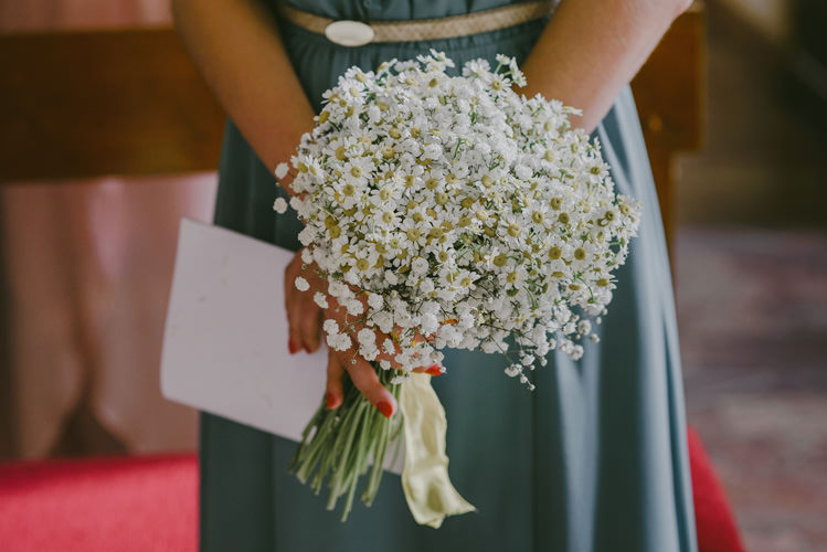 Bridesmaid Green Dress Gold Belt White Daisy Bouquet White Ribbon Natural Greenery Stylish Wedding Transylvania https://raresion.com/
