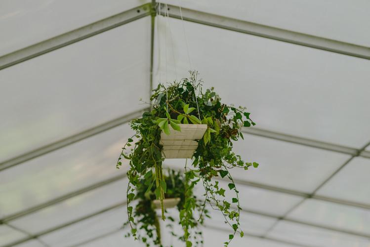 Reception White Marquee Hanging Décor Greenery Natural Greenery Stylish Wedding Transylvania https://raresion.com/