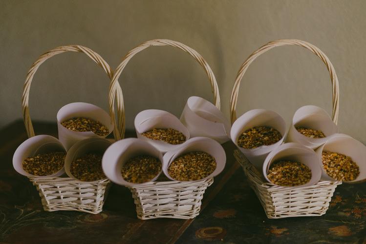 White Wicker Baskets Dried Petals White Cones Natural Greenery Stylish Wedding Transylvania https://raresion.com/