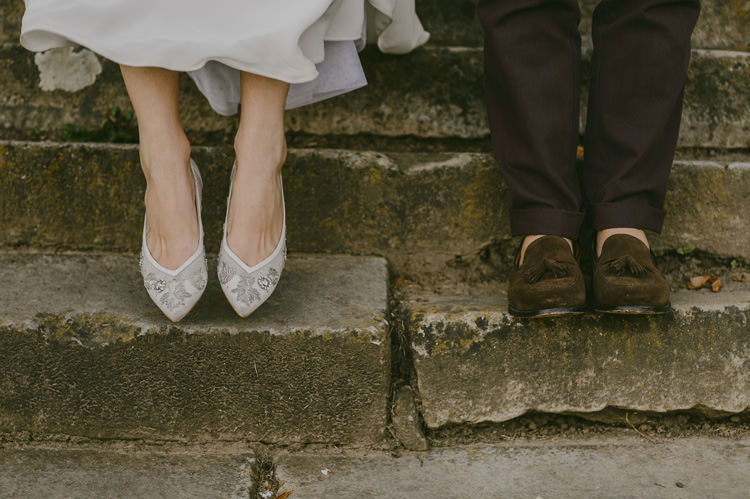 Bride Embellished White Flat Shoes Groom Brown Pants Brown Suede Shoes Natural Greenery Stylish Wedding Transylvania https://raresion.com/