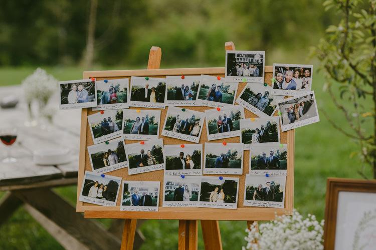 Reception Guest Polaroid Photos Wooden Frame Easel Natural Greenery Stylish Wedding Transylvania https://raresion.com/