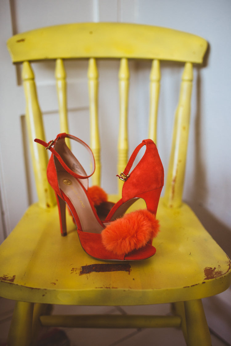 Orange Red Pom Fluffy Shoes Bride Bridal Heels Pretty DIY Outdoor Village Hall Wedding https://photography34.co.uk/