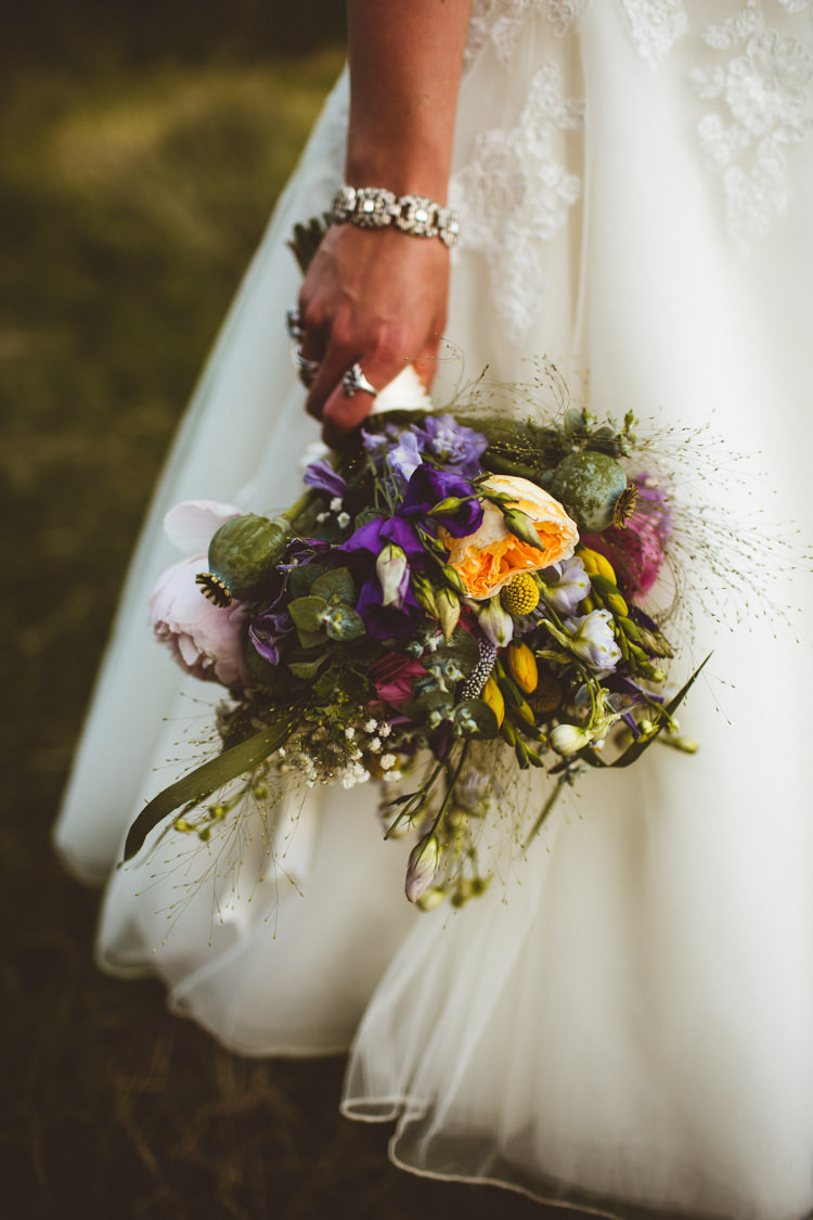 Bouquet Flowers Bride Bridal Pink Yellow Purple Daisy Rose Peony Pretty DIY Outdoor Village Hall Wedding https://photography34.co.uk/
