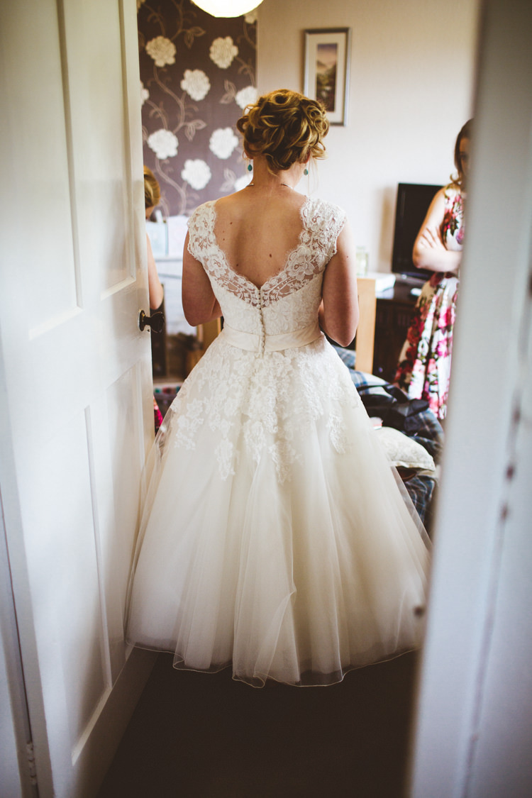 Tea Length 1950 Short Dress Bride Bridal Gown Justin Alexander Lace Buttons Pretty DIY Outdoor Village Hall Wedding https://photography34.co.uk/
