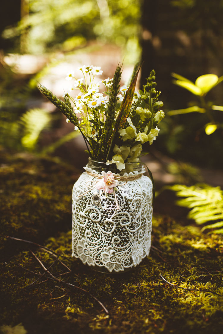 Lace Twine Jar Flowers Decor Pretty DIY Outdoor Village Hall Wedding https://photography34.co.uk/