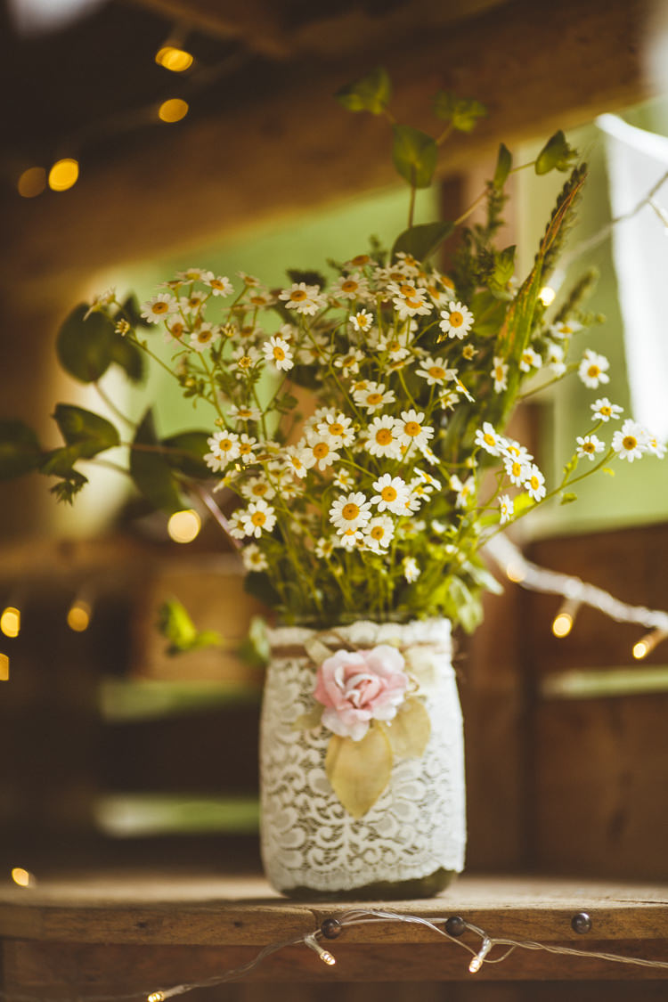 Lace Jar Flowers Daisy Pretty DIY Outdoor Village Hall Wedding https://photography34.co.uk/