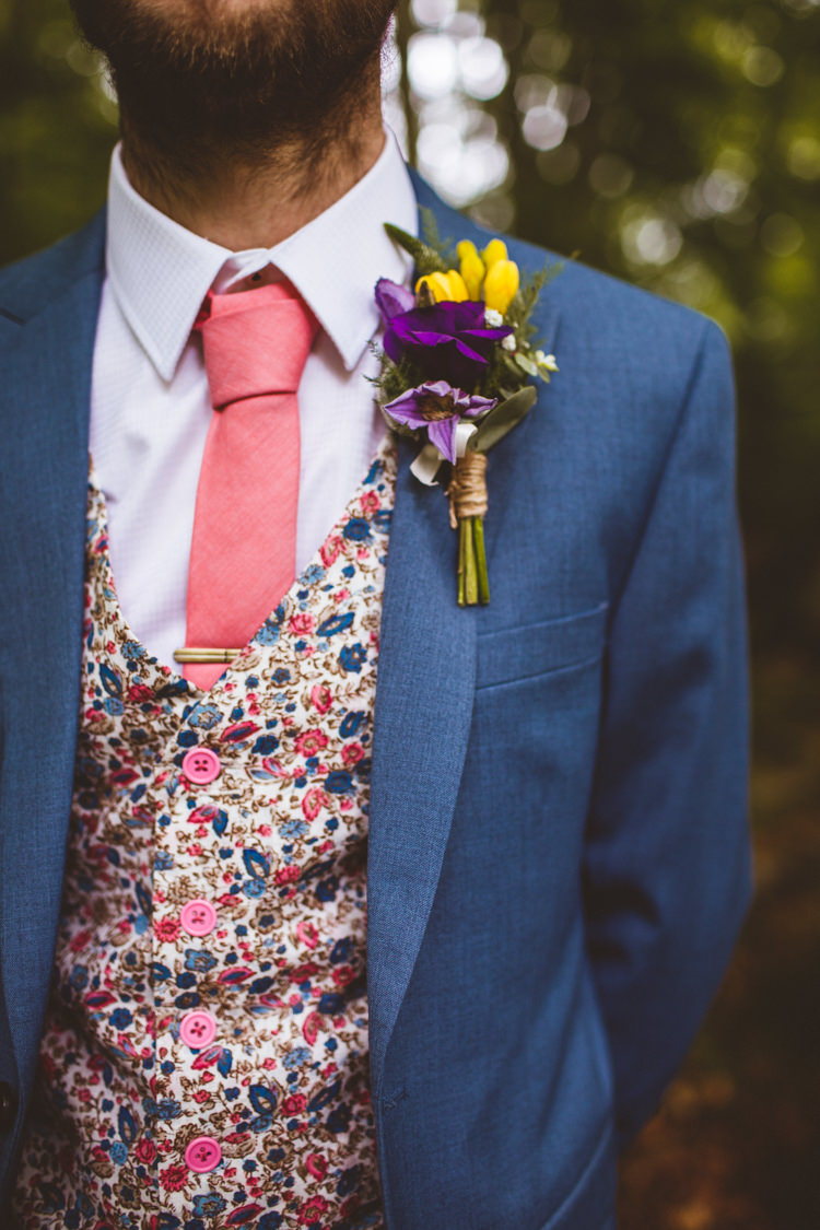 Yellow Purple Groom Buttonhole Floral Waistcoat Pink Tie Pretty DIY Outdoor Village Hall Wedding https://photography34.co.uk/