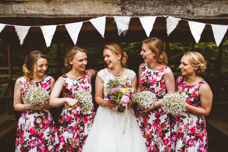 Floral Bridesmaid Dresses Pink Pretty DIY Outdoor Village Hall Wedding https://photography34.co.uk/