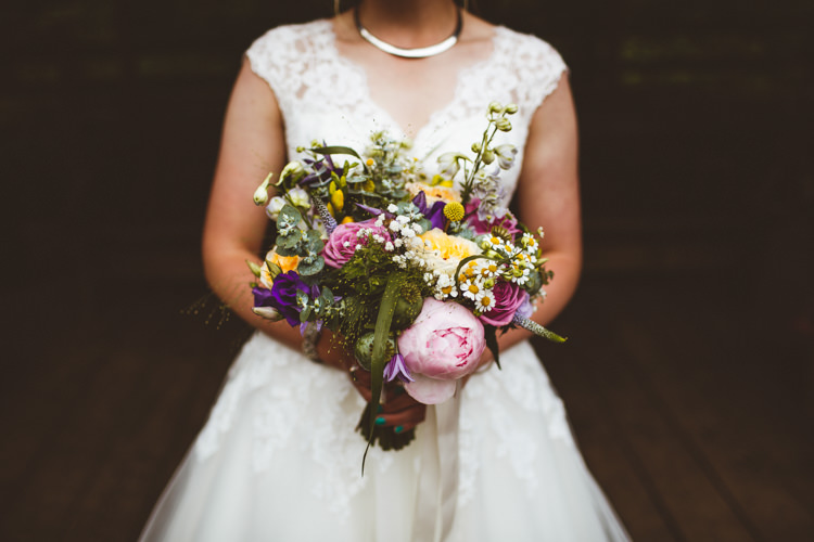 Yellow Pink Bouquet Flowers Peony Rose Bride Bridal Pretty DIY Outdoor Village Hall Wedding https://photography34.co.uk/