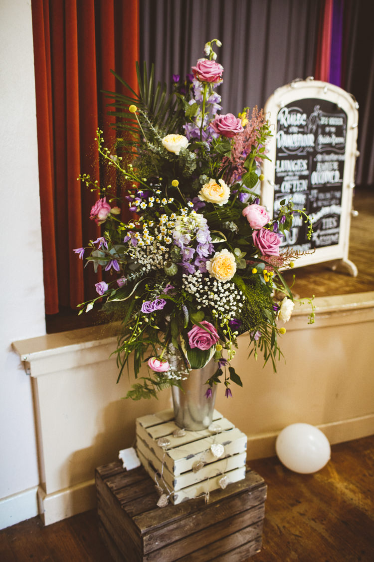 Crate Flower Arrangement Pink Yellow Pretty DIY Outdoor Village Hall Wedding https://photography34.co.uk/