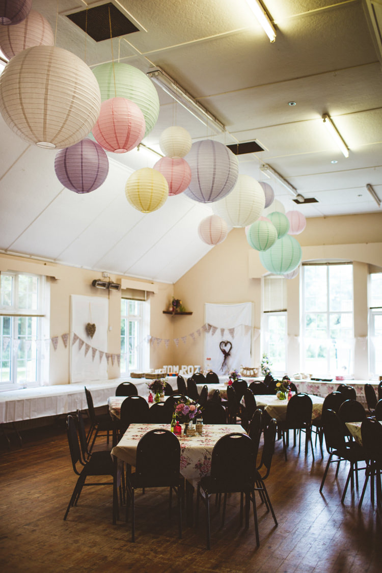 Pastel Paper Lanterns Pretty DIY Outdoor Village Hall Wedding https://photography34.co.uk/