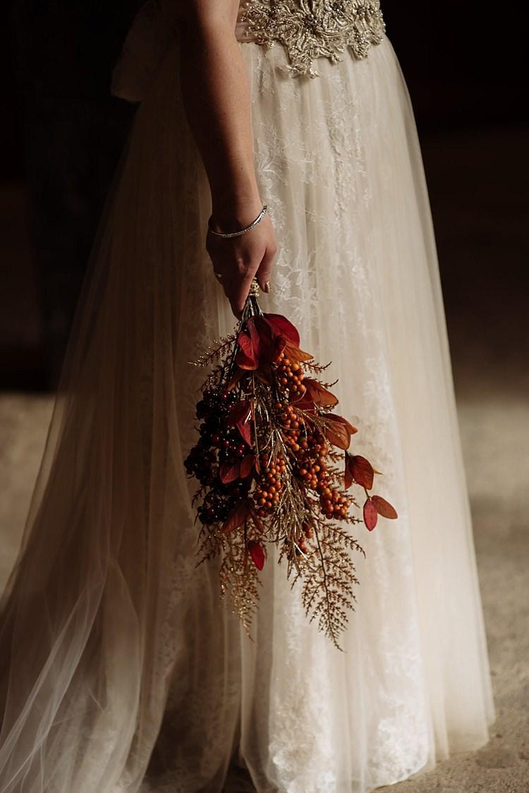 Artificial Bouquet Flowers Bride Bridal Leaves Outdoor Woodland Autumn Banquet Wedding http://toastofleeds.co.uk/