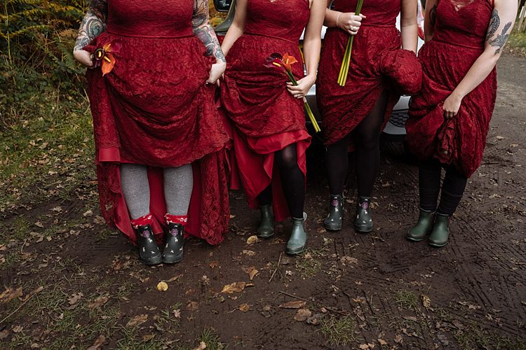 Wellies Bridesmaids Outdoor Woodland Autumn Banquet Wedding http://toastofleeds.co.uk/