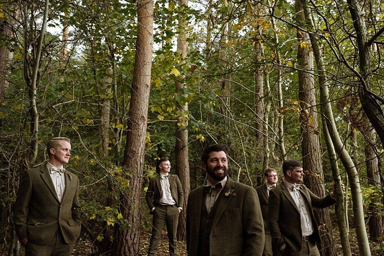 Brown Tweed Groomsmen Suits Bow Ties Outdoor Woodland Autumn Banquet Wedding http://toastofleeds.co.uk/