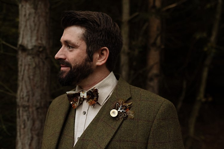 Feather Bow Tie Buttonhole Groom Outdoor Woodland Autumn Banquet Wedding http://toastofleeds.co.uk/