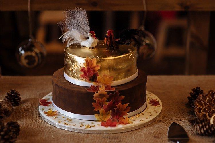 Gold Leaf Cake Outdoor Woodland Autumn Banquet Wedding http://toastofleeds.co.uk/