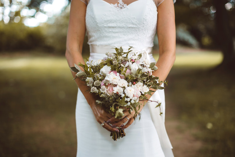 Greenery Foliage Pink Flowers Bouquet Bride Bridal Cotswolds Country House Marquee Wedding http://www.wearegatheredheretoday.com/
