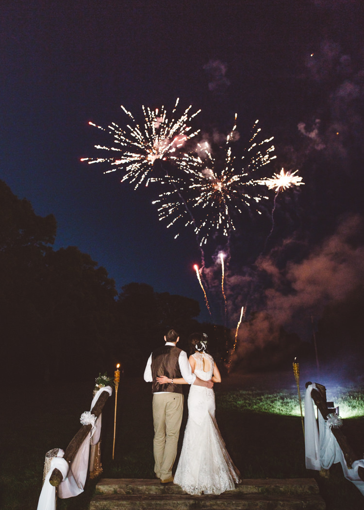 Fireworks Natural Woodland Hessian Lace Wedding http://holliecarlinphotography.com/