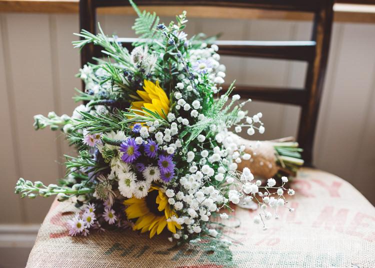 Sunflower Gypsophila Bouquet Flowers Natural Woodland Hessian Lace Wedding http://holliecarlinphotography.com/