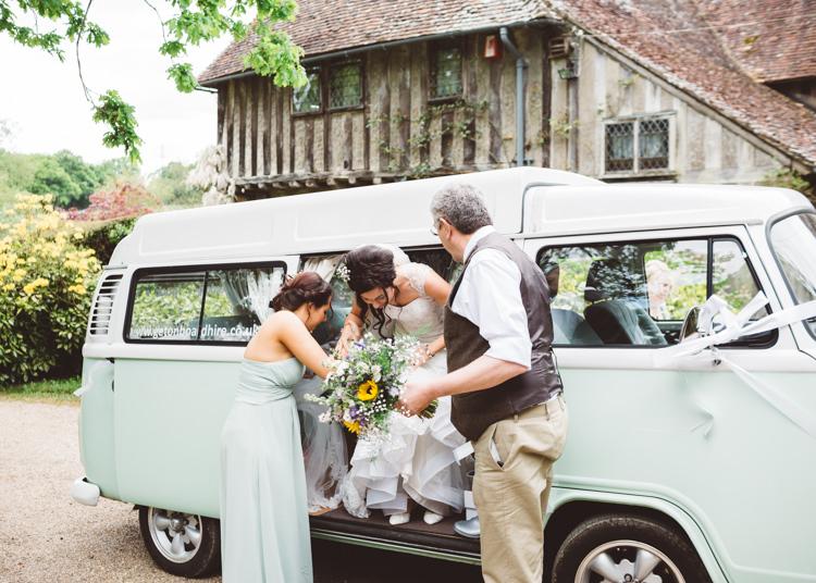 Mint Campervan Natural Woodland Hessian Lace Wedding http://holliecarlinphotography.com/