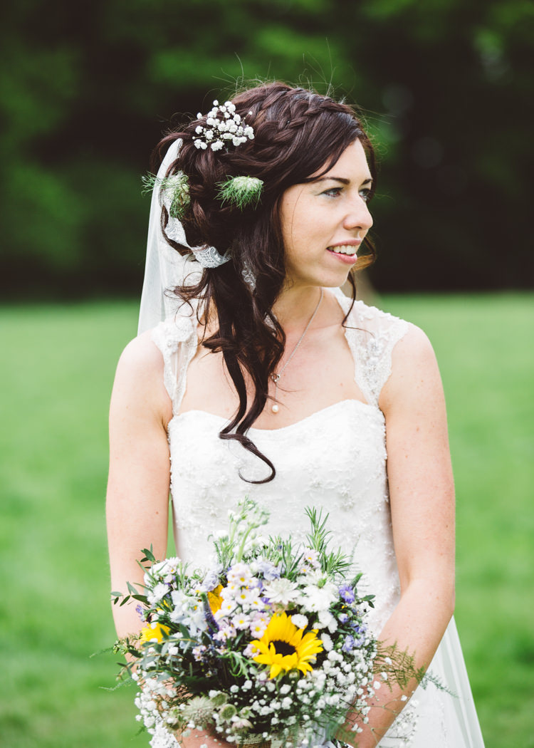 Hair Bride Bridal Style Plait Braid Flowers Natural Woodland Hessian Lace Wedding http://holliecarlinphotography.com/