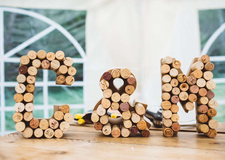 Cork Letters Initials Natural Woodland Hessian Lace Wedding http://holliecarlinphotography.com/