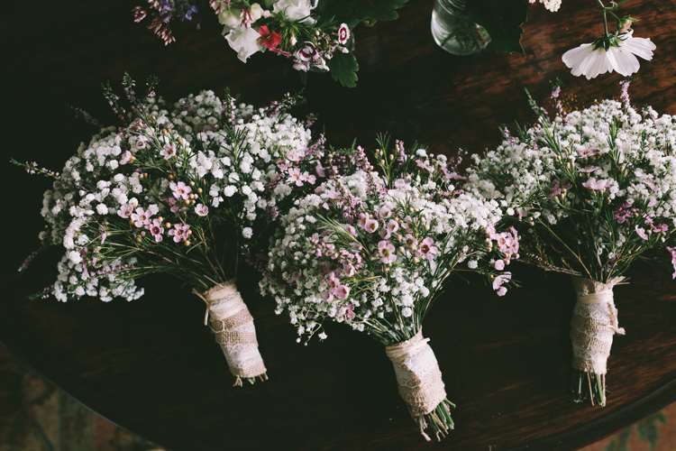 Wax Flower Gypsophila Bouquets Bridesmaids Pretty Light Pink Country House Wedding http://jonathanryderphotography.com/