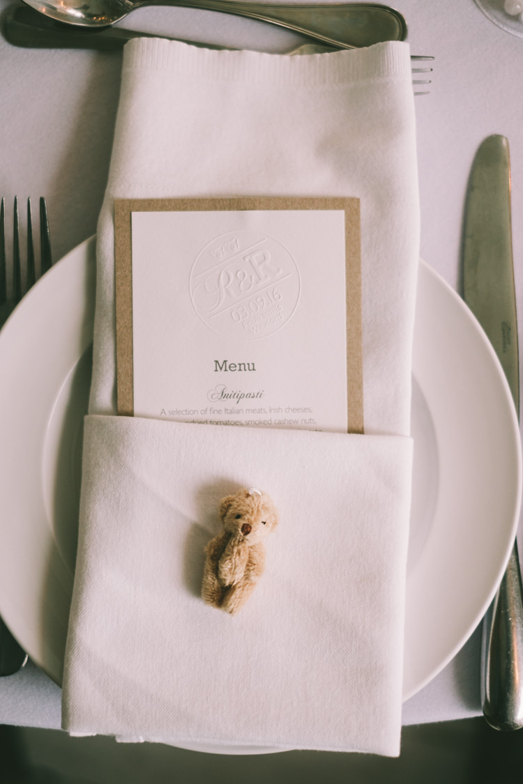 Teddy Bear Favour Place Setting Pretty Light Pink Country House Wedding http://jonathanryderphotography.com/