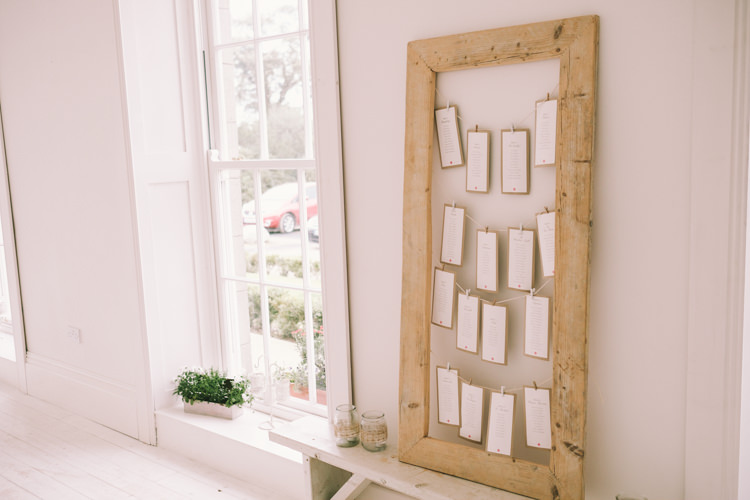 Seating Plan Chart Luggage Tag Frame Pegs Pretty Light Pink Country House Wedding http://jonathanryderphotography.com/