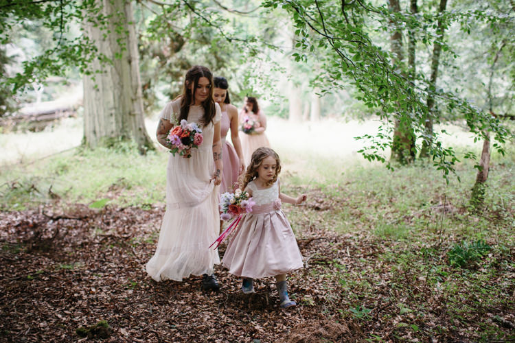 Mismatched Pink Bridesmaid Dresses Flower Girl Intimate Indie Woodland Wedding http://www.caroweiss.com/