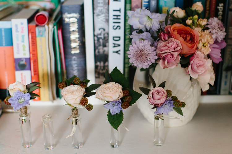 Buttonholes Berries Roses Intimate Indie Woodland Wedding http://www.caroweiss.com/