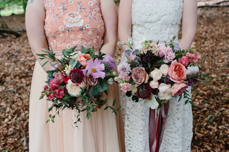 Bridesmaid Bridal Bouquet Red Pink Marsala Bergundy Ribbons Intimate Indie Woodland Wedding http://www.caroweiss.com/