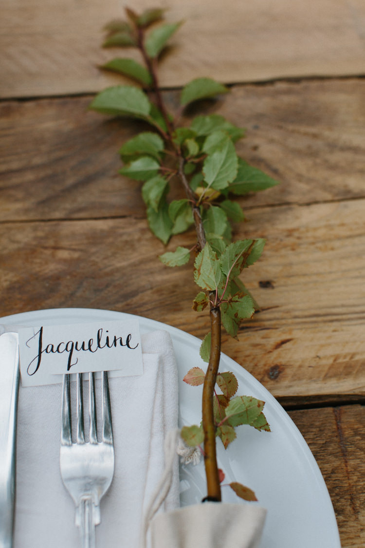 Calligraphy Place Name Card Setting Flower Branch Intimate Indie Woodland Wedding http://www.caroweiss.com/