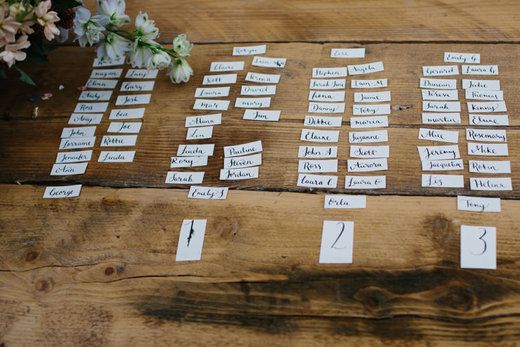 Calligraphy Seating Plan Table Chart Intimate Indie Woodland Wedding http://www.caroweiss.com/