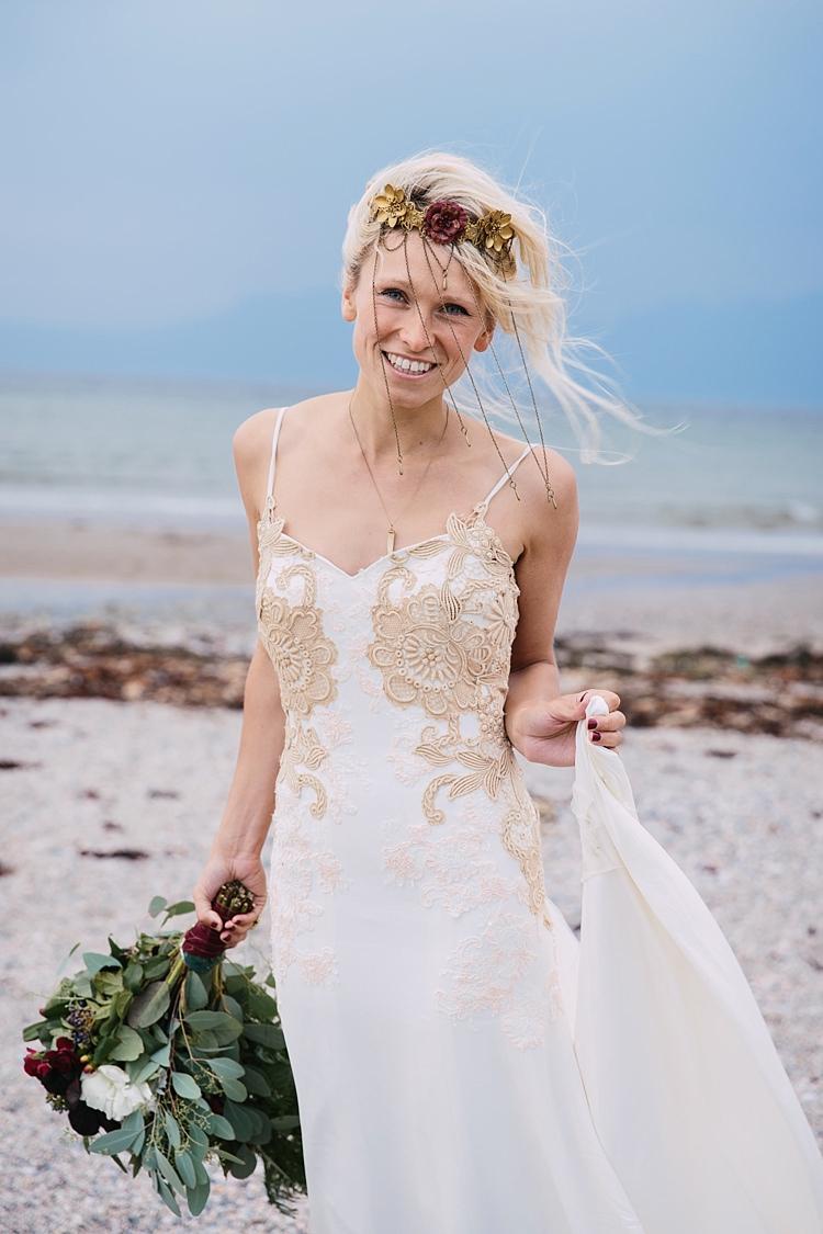 Laura Jayne Jones Bespoke Gold Bodice Wild Artistic Ethereal Wedding http://sarahannweddings.com/